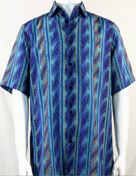 Aqua Blue Wave Pattern Short Sleeve Camp Shirt 5003