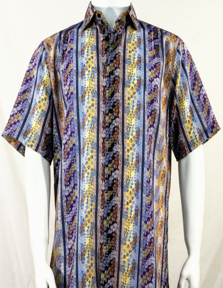 Purple Multi-Color Wave Pattern Short Sleeve Camp Shirt 5002