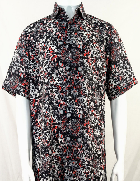 Black White and Red Pattern Short Sleeve Camp Shirt