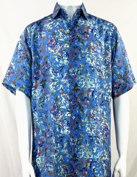 Blue Swirls Pattern Short Sleeve Camp Shirt 3997