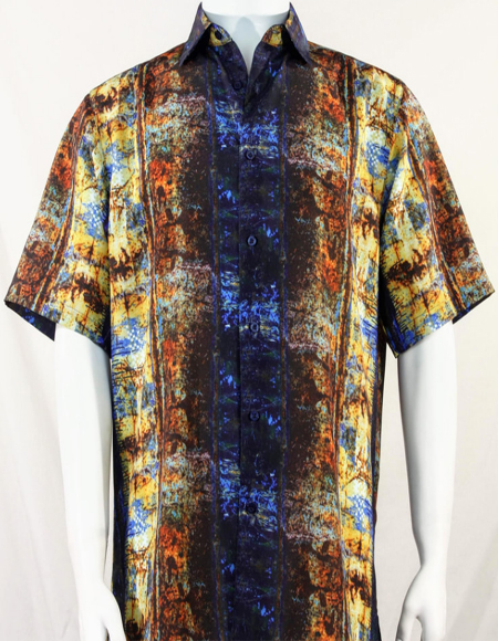 Blue Pattern Short Sleeve Camp Shirt 3996