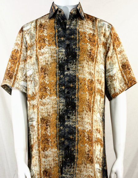 Copper Pattern Short Sleeve Camp Shirt 3995