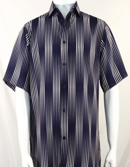 Navy Stripes Pattern Short Sleeve Camp Shirt 3994