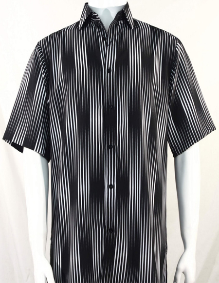 Black Stripes Pattern Short Sleeve Camp Shirt 3993