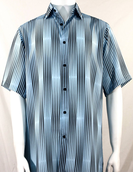 LT Blue Stripes Pattern Short Sleeve Camp Shirt 3989
