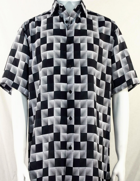 Black Dimension Squares Short Sleeve Shirt 3986
