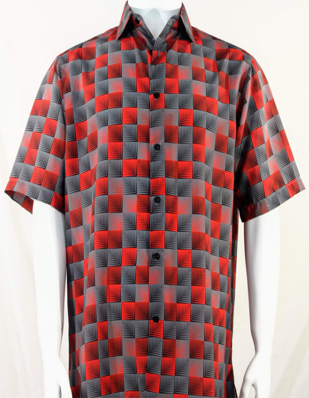 Red 3D Squares Short Sleeve Shirt 3984
