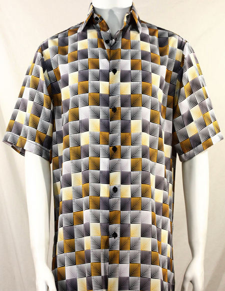 Gold 3D Squares Short Sleeve Shirt 3980