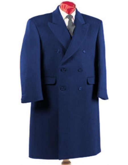 Blue Wool Double Breasted Wool Overcoat ~ Topcoat Full