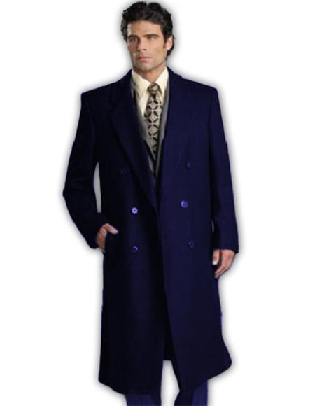 Navy Blue Double Breasted Wool Full Length Overcoat ~