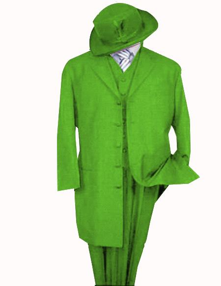 Apple Green Poly/Rayon Five Button Zoot Suit