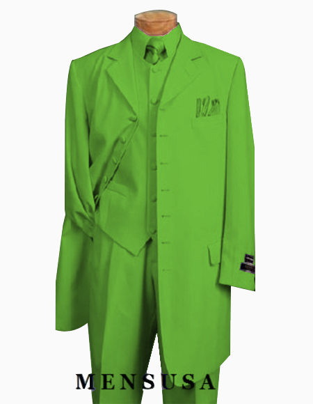 Green Two Flap Front Pockets Mens Zoot Suit