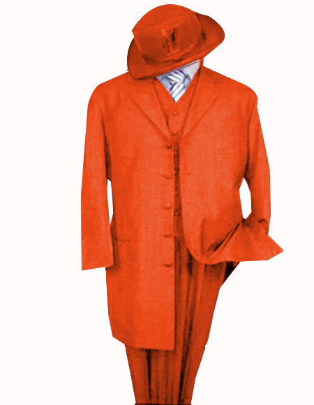 Orange One Chest Pocket Notch Lapel Zoot Suit