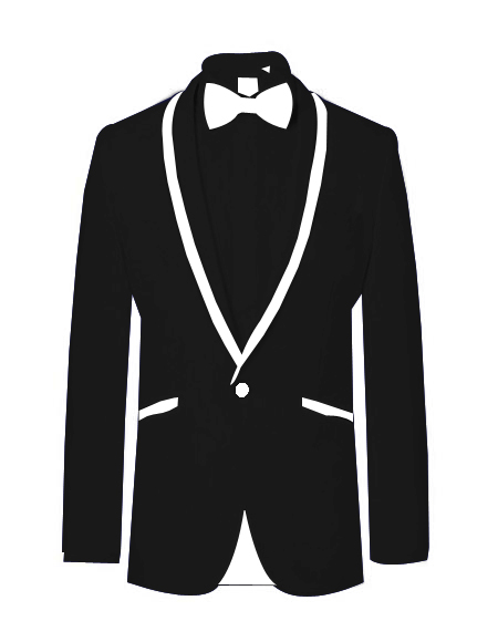 Prom~WeddingTuxedoDinnerJacketBlack/WhiteTrim