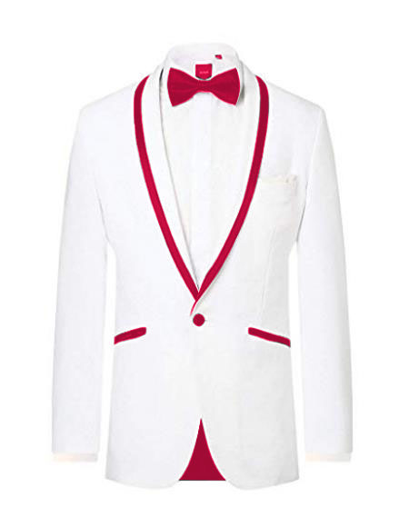 ~ Wedding Tuxedo Dinner Jacket White/Burgundy Trim