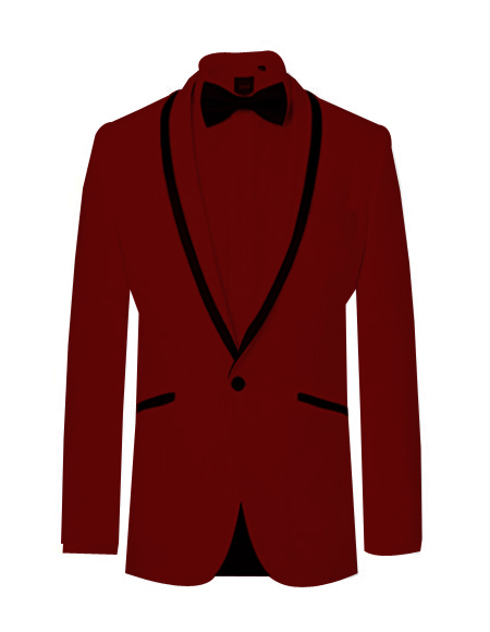 ~ Wedding Tuxedo Dinner Jacket Burgundy and Black Trim