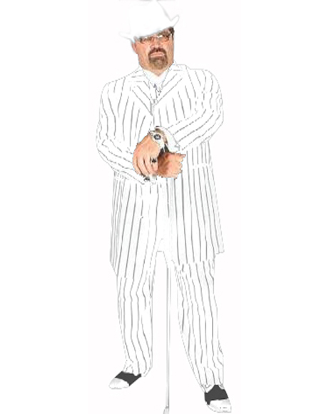 Pimp Suit White/Black Pinstripe