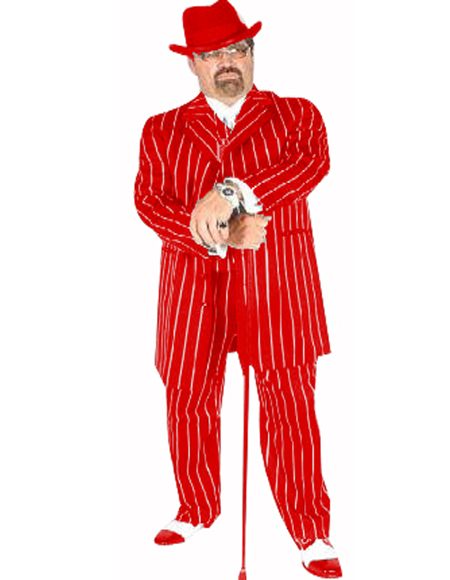 Suit Red/White Pinstripe