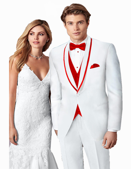 White/Red Prom ~ Wedding Tuxedo Suits
