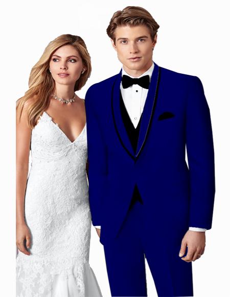 ~ Wedding Tuxedo Suits Wtih Trim Shawl Collar Vested