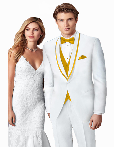 White/GoldTrimShawlLapelProm~WeddingVestedSuit