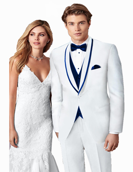 Blue Trim Single Breasted Prom ~ Wedding Shawl Collar