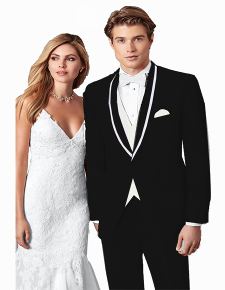 Black/WhiteTrimCenterVentProm~WeddingTuxedoforMen