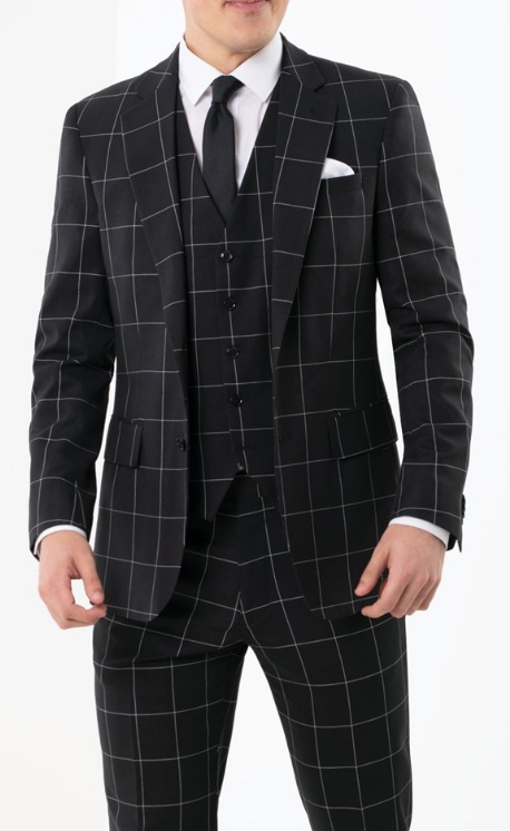 Plaid - Checkered Suit Black/White Single Breasted Notch Lapel
