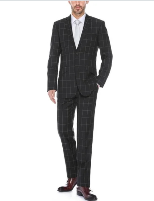 BlackPlaidPatternSlimFitMensFashionSuit