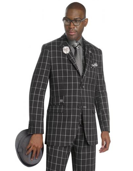 Black/White Ticket Pocket Windowpane Pattern Gangster Suit