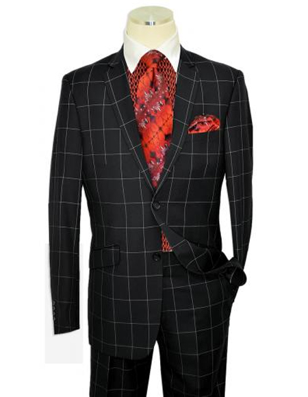 Style Mens Fashion Black Plaid ~ Windowpane Suit Vested