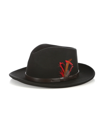 Fedora Hat in Black with Leather Band