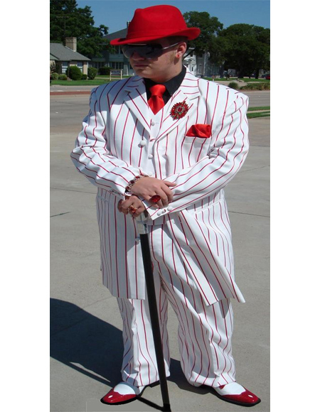 ~ Red Five Button Pinstripe Zoot Suit