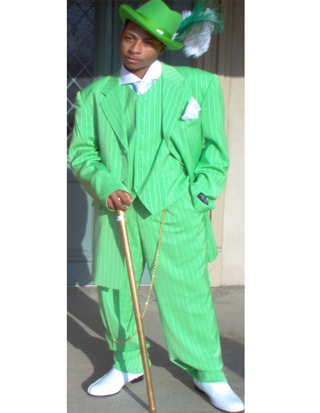 Green ~ White Five Button Zoot Suit