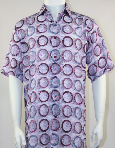 Pink Tones Loose Flowing Fit Bassiri Short Sleeve Shirt