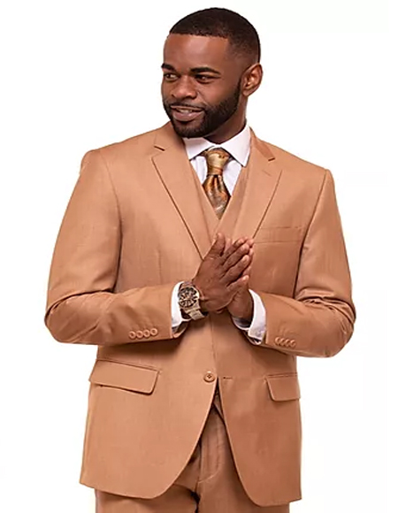 Latte Single Breasted 2 Button Notch Lapel Suit