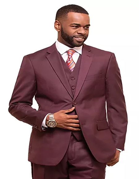 Burgundy Single Breasted 2 Button Notch Lapel Suit