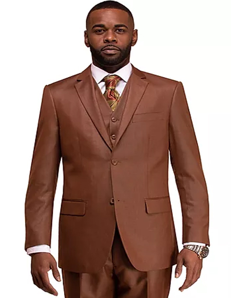 Rust Single Breasted 2 Button Notch Lapel Suit