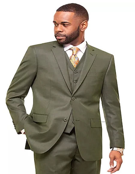 Olive Single Breasted 2 Button Notch Lapel Suit