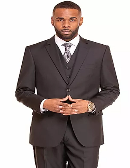 Black Single Breasted 2 Button Notch Lapel Suit