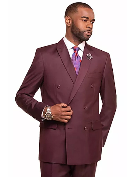Burgundy Double Breasted 2 Button Notch Lapel Suit