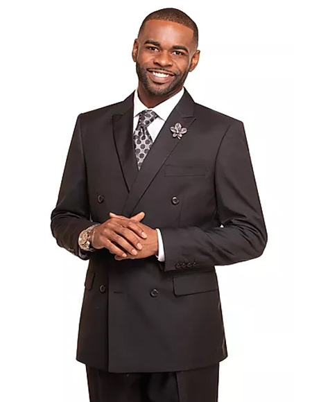 Black Double Breasted 2 Button Notch Lapel Suit