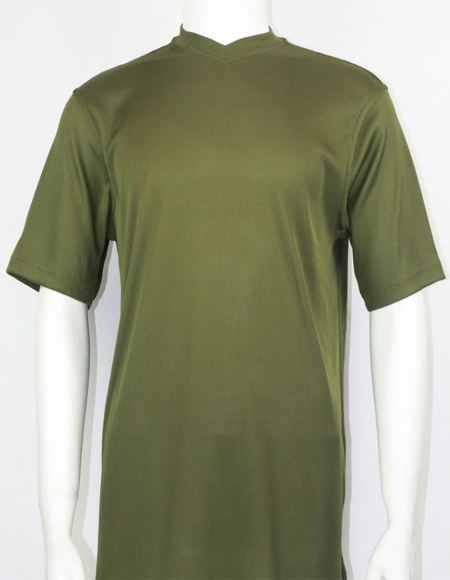Olive Green Bassiri Short Sleeve Shirts