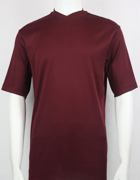 Bassiri Short Sleeve Burgundy Shirts