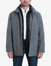 & Tall Wool Blend Stand-Collar Bib Car Coat Medium