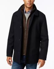 & Tall Wool Blend Stand-Collar Bib Car Coat Navy/Brown