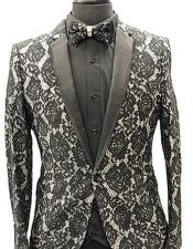 Black One Button Paisley Fashion Fancy
