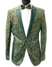 Mens Green Slim Fit Peak Lapel