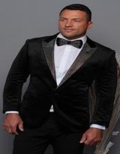 Black and Silver Lapel Velvet Mens