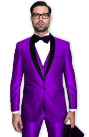 Purple Tuxedo Shawl Collar Vested Jacket & Pants 3